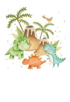 Cute Dinosaur, Dinosaur Party, Dinosaur Birthday, Boy Birthday, Kids Watercolor, Watercolor Cards, Animal Crafts For Kids, Art For Kids, Pool Party Centerpieces