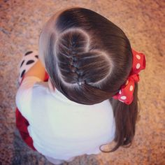 10 Gorgeous Braided Hairstyles with Bun for Your Little Girl - Wass Sell Braided hair style with heart shaped side with red ribbon Your Little Girl Baby Girl Hairstyles, Cute Hairstyles, Braided Hairstyles, Toddler Hairstyles, Crazy Hair Day At School, Crazy Hair Days, Hair Styles 2016, Medium Hair Styles, Wacky Hair Days
