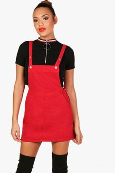c1227675 Click here to find out about the Emily Red Denim Pinafore Dress from  Boohoo, part
