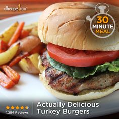 "Actually Delicious Turkey Burgers | ""OMG I will never use another recipe for turkey burgers again! I am such a food snob and my daughter doesn't fall far from the tree and we are both in love with thi (Home Made Burger Recipes)"