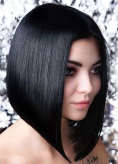 Sleek Angled Black Bob