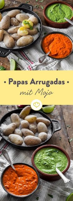 Die kleinen Runzelkartoffeln mit Salzkruste stammen von den Kanaren. Dort werden die Papas Arrugadas traditionell mit roter und grüner Sauce serviert.