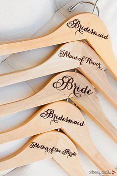 1 - Personalized Bridesmaid Hanger - Engraved Wood #weddingdresses