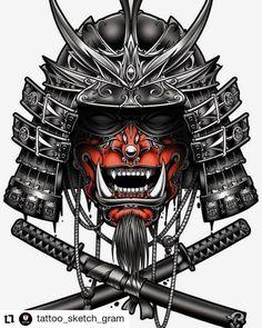 Japanese Warrior Tattoo, Japanese Demon Mask, Japanese Tattoo Symbols, Japanese Tattoo Designs, Japanese Tattoo Art, Japanese Art Samurai, Tattoo Sleeve Designs, Sleeve Tattoos, Hannya Samurai