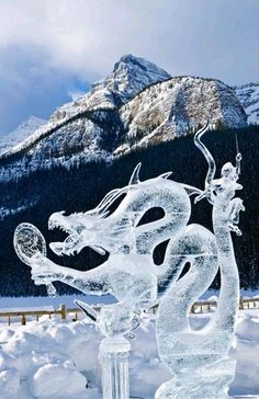 Ice sculpture of dragon, Ice Magic Festival, Banff National Park, Alberta, Canada (© Michael Wheatley/All Canada Photos/Getty Images)