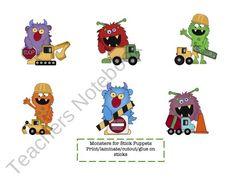 Little Monster Puppet Sticks product from Preschool-Printable on TeachersNotebook.com