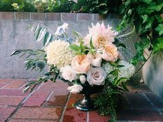 inspired by: color, lush blooms, greenery, shape of arrangement.