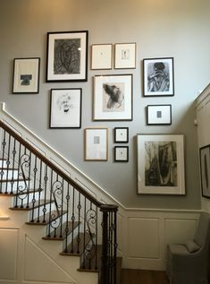 Stairway gallery wall, stairway art, stairwell wall, gallery wall layout, g Gallery Wall Staircase, Staircase Wall Decor, Staircase Ideas, Staircase Walls, Stairway Wainscoting, Stairway Photo Gallery, Staircase Frames, Stairwell Wall, White Staircase