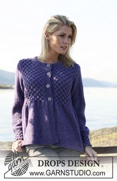 """Knitted DROPS jacket with honeycomb pattern in 2 strands """"Alpaca"""". Size S - XXXL. ~ DROPS Design"""