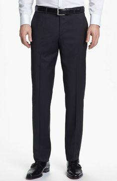 8e68fac2 $195 NWT NEW MEN'S HUGO BOSS THE JAM TRIM CHARCOAL FLAT FRONT SLACKS PANTS  34 #