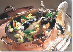 Bresse Chicken in Cocotte with Vegetables and Truffle Mousseline http://www.theworldwidegourmet.com/recipes/chicken-cocotte-rochat