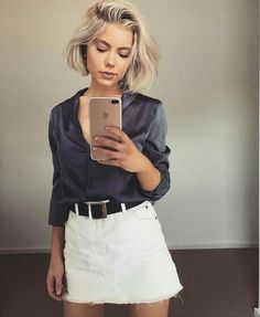 Laura Jade Stone: Satin Button Up + Denim Skirt Looks Chic, Looks Style, Style Me, Fashion Mode, Look Fashion, Fashion Beauty, Laura Jade Stone, Look 2017, White Denim Skirt
