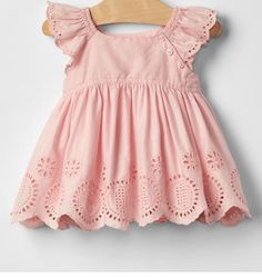 Gap Eyelet Flutter Top - Also available in white Little Girl Outfits, Baby Boy Outfits, Toddler Outfits, Kids Outfits, Baby Girl Dress Patterns, Baby Girl Dresses, Baby Dress, Cute Baby Clothes, Doll Clothes