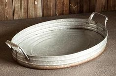 Use this Galvanized Tub Tray on your coffee table, or as a serving tray at Holiday parties! This tray adds an element of Farmhouse Charm to any room! - Beautifully crafted from galvanized tin metal -
