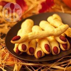 I made these for a Halloween bake sale. Accidentally used self raising flour, so they turned into fat fingers. Spooky witches' fingers @ allrecipes.co.uk
