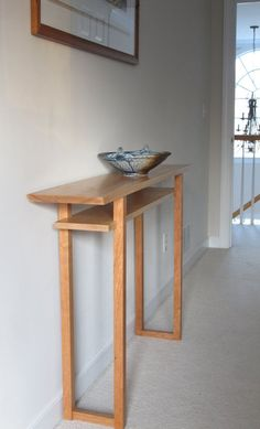 Hall Table Narrow Console Table with Shelf by MokuzaiFurniture