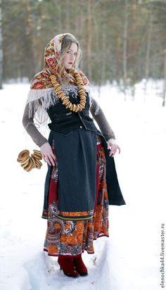 """Купить Юбка в русском стиле """"КраснА"""" - ярко-красный, цветочный, русский стиль, ярмарка, масленница"""