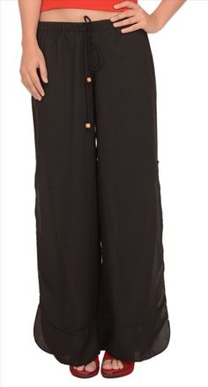 """#Apparels #Women #Western Wear #Trousers & Capris #Trousers  Simple Yet Stylish Moss Crepe Pajama/Pant With Side Slits. Featuring An Elasticated Waistband Along With Drawstring. One Size (Small / Medium / Large / Xl). Waist - Unstretched : 26"""" Stretched: 36"""". Approx Length = 37"""" Worn Slightly Low Waist With Hem Finishing At The Ankle Perfect For Parties, Outings, As Casual Wear, Loungewear And More! Slide Slits Provide Sensuous Look. Match With Stylish Colorful Tops For That Perfect…"""