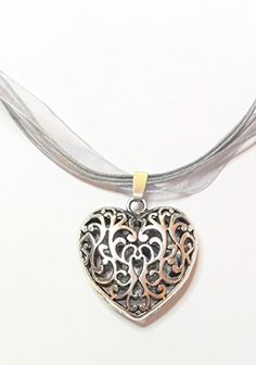 Pendant Necklace, Diamond, Jewelry, Fashion, Heart, Silver, Grey, Colors, Gifts