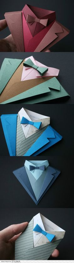 Here are some amazing origami by Fedrigoni SpA, and they are the makers ofs some of the finest paper that money can buy. And to illustrate it, here's a whole set of their origami suits used as a promotion of part of a series. Wedding Gifts For Bride, Wedding Card, Trendy Wedding, Wedding Ideas, July Wedding, Masculine Cards, Diy Cards, Men's Cards, Homemade Cards