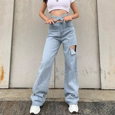 Hollow Out Ripped Long Waist Blet Pockets Jeans - TD Mercado