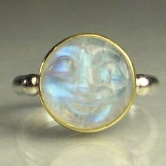 Rainbow Moonstone Ring - Man in the Moon - 18k Gold and Sterling. $145.00, via Etsy.