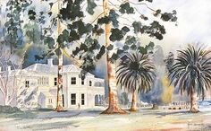 Mansion House Kawau Island by Hugh Brading for Sale - New Zealand Art Prints New Zealand Art, Mansions Homes, Fine Art, Island, Art Prints, House, Painting, Mansions, Art Impressions