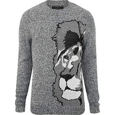 Grey lion jumper - jumpers - knitwear - men