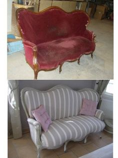 Antique sofa revisited – Sofa before-after – You have relooked a piece of furniture Funky Furniture, Refurbished Furniture, Shabby Chic Furniture, Vintage Furniture, Painted Furniture, Couch Makeover, Furniture Makeover, Vintage Sofa, Reupholster Furniture