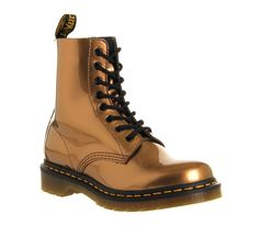 Dr. Martens 8 Eyelet Lace Up Boot Copper Spectra Patent Leather - Ankle Boots