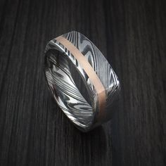 Kuro Damascus Steel Square Ring with 14k Rose Gold Inlay Custom Made Band