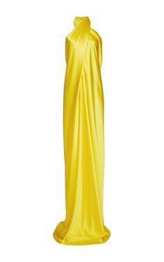 Silk Satin Wrap Gown by Naeem Khan for Preorder on Moda Operandi