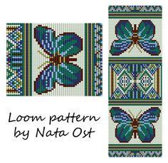 Beading Loom Pattern Bracelet Butterfly Seed Bead Cuff by NataOst Seed Bead Patterns, Peyote Patterns, Bracelet Patterns, Beading Patterns, Cross Stitch Patterns, Cross Stitches, Embroidery Bracelets, Bead Loom Bracelets, Mochila Crochet