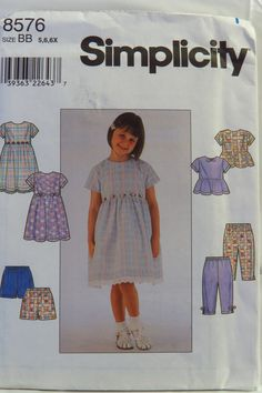 Simplicity 8576 Child's Dress or Top and Pants or Shorts