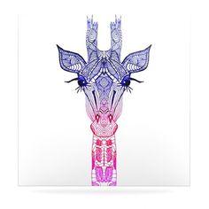 Rainbow Giraffe Floating Art Panel  Tribal lines giraffe head tattoo??