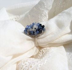 Semiprecious Sapphire beads on sterling silver ring Jewelry Art, Sterling Silver Rings, Art Pieces, Sapphire, Beads, Handmade, Beading, Hand Made, Artworks