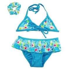 Number One Toddler Girls Floral Skirted Bikini and Hair Tie Swim Suit Set