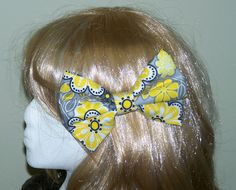 Large Fabric Hair Bow Yellow and Black Hair by HairBowAplenty