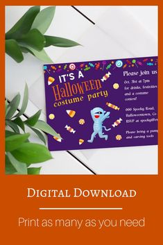 Halloween Costume Party Invitation Template | Printable Kids Party Invite Halloween Costume Party Invitations, Party Invitations Kids, Halloween Town, Halloween Costumes, Invite, Party Drinks, Party Printables, At Least