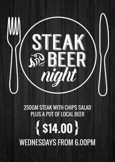 Steak & Beer Night event poster / campaign. Customise your food & beverage offer graphics with pre-designed templates in easil.com