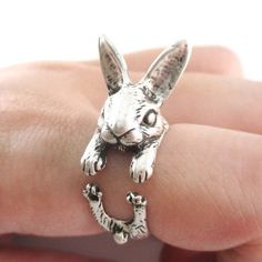 Rabbit Animal Bunny Ears Alice in Wonderland Adjustable Wrap Ring in Antique Black Plated or Antique Silver Plated or Antique Gold Plated
