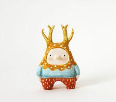 Deer boy  Little figurine  Miniature paper clay by sweetbestiary