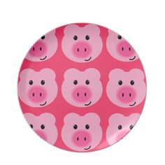 Cute Pink Pig Pattern Melamine Plate by enchantfancy  KCT needs to repin this