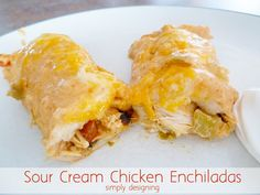 The BEST Sour Cream Chicken Enchiladas recipe - Use pre-bought grilled chicken pieces in place of cooking chicken for a quick meal I Love Food, Good Food, Yummy Food, Tasty, Mexican Dishes, Mexican Food Recipes, Sour Cream Chicken, Cooking Recipes, Healthy Recipes