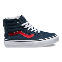 5405d31c21 Vans Kids Sk8 Hi Zip Varsity Shoes - Navy True White
