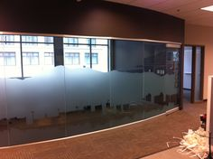 Conference room cityscape on glass