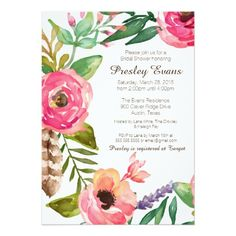 Watercolor, hand painted wreath, floral and feather, shabby chic bridal shower elegant invitation, spring and summer, peach and pink, brown. Baby Shower, Wedding, Bridal Shower.