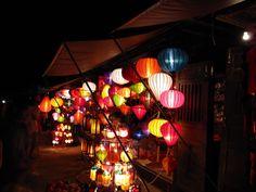 Vietnamese silk lamps in Hoi An