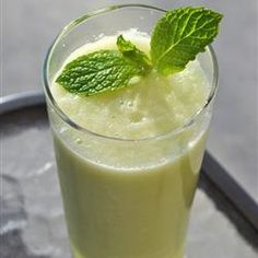 Cucumber Cooler   Puree: 2 seeded cucumbers, 3/8 c. lime juice, 1/3 c. sugar, and 2/3 c. water. Serve over ice and garnish with mint, if desired.