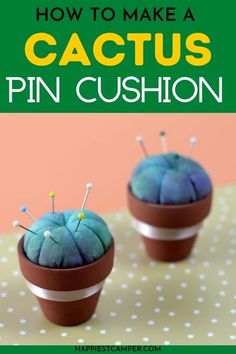 Keep your straight pins off the floor and easy to get to with this adorable Cactus Pin Cushion! This easy sewing project is as useful as it is cute. Add some functional decor to your sewing space. // Happiest Camper -- #sewing #crafting #DIY